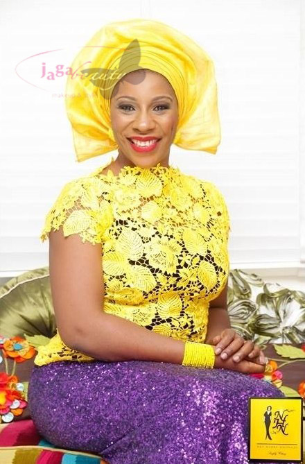 Yellow and Purple Aso-ebi Style by NHN Couture- Makeup and Gele by Jagabeauty