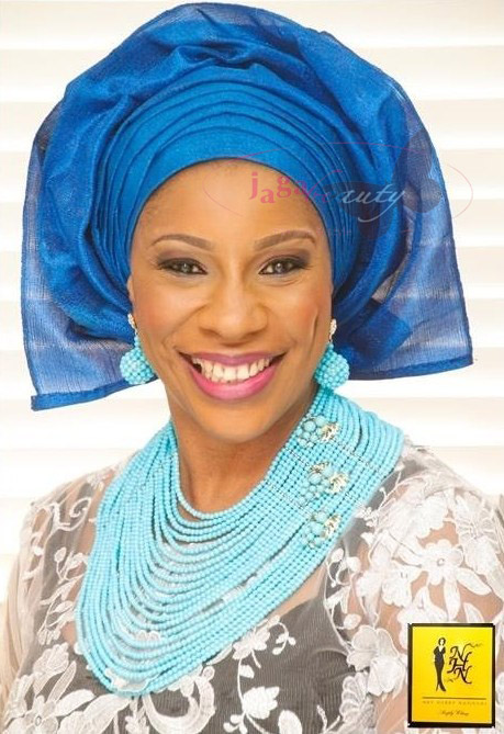 Blue and White Aso-ebi Style by NHN Couture- Makeup and Gele by Jagabeauty