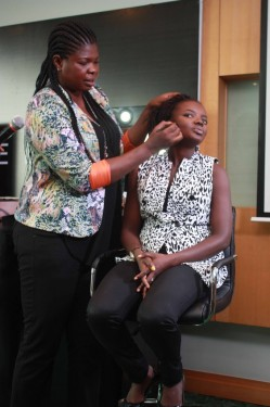 Bimpe Onakoya working on Yemisi of Nsure Beauty