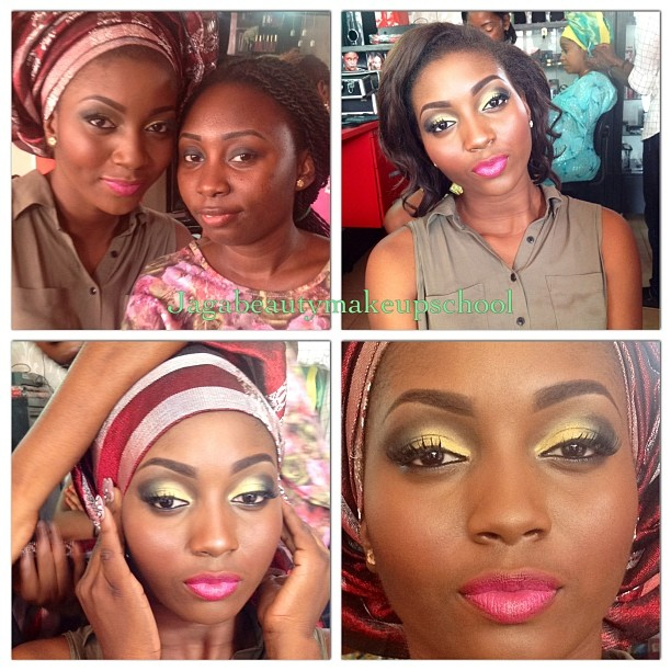 Moromoke (student) was pretty unassuming. It was a delight to see the look she was able to create on her model at her first 'engagement look' practical. Her green and yellow choice of eyeshadow was minty refreshing. #