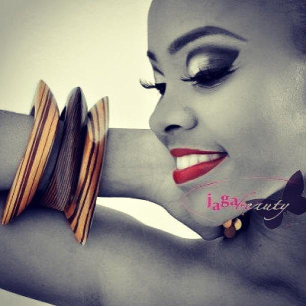 Makeup by Jaga .model:Amaka #smokeyeye #redlips #model #accessories #bangles #mua #makeupartist #butterfly #smiley #awesomeness #fashion #pose #runway #creativity, June 2013