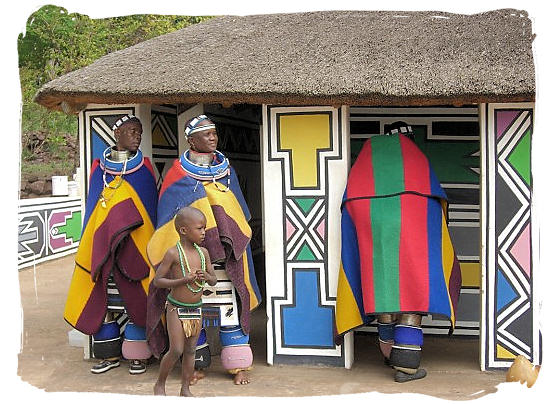 Ndebele cultural village showcasing their beautiful houses and traditional clothes