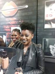 The ladies smiling @ d counter (friendly customer care at the Makeup forever stand) I love her hair too.