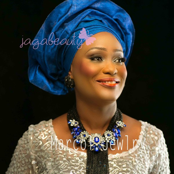 Scarf necklace by Marcol Jewelry- Blue and White Aso-ebi Style by NHN Couture-Makeup and Gele by Jagabeauty